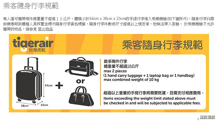 台灣虎航-隨身手提行李規定